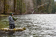 David page uses a casting platform while searching for winter steelhead. Vancouver Island, BC