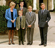 Prince William's first day at Eton College Public School, Windsor, England. With Prince Charles. Pic Jayne Russell 07.09.1995