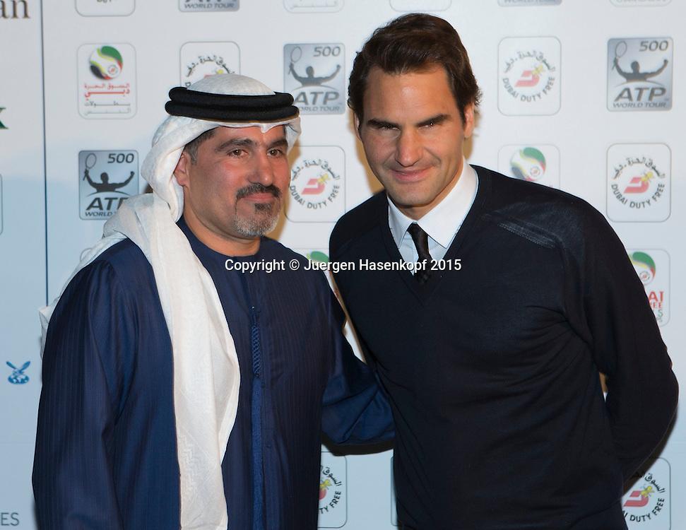 Players Party, Roger Federer und Turnierdirektor Salah Talak<br /> <br /> Tennis - Dubai Duty Free Tennis Championships - ATP -   - Dubai -  - United Arab Emirates  - 24 February 2015. <br /> &copy; Juergen Hasenkopf