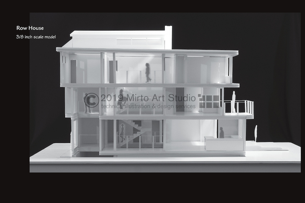 An architectural student design project that calls for a multi level row house for a family of four that incorporates professional working space, family space, and natural light throughout the design.
