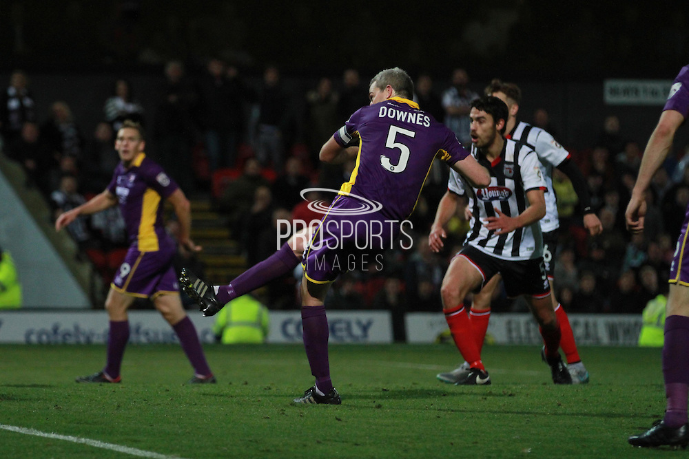 Aaron Downes scores the goal during the Vanarama National League match between Grimsby Town FC and Cheltenham Town at Blundell Park, Grimsby, United Kingdom on 30 October 2015. Photo by Antony Thompson.
