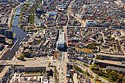 Nederland, Groningen, Groningen, 01-05-2013;<br /> Groningen-stad, centrum. Damsterdiep (Damsterplein met in het midden het nieuwe kantoor van Woningcorporatie Nijestee. Verder in beeld het Zuiderdiep en links de Oosterhaven (Eemskanaal)<br /> View on the city of Groningen, old town. <br /> luchtfoto (toeslag op standard tarieven)<br /> aerial photo (additional fee required)<br /> copyright foto/photo Siebe Swart