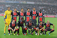 FOOTBALL - FRENCH CHAMPIONSHIP 2011/2012 - L1 - PARIS SG v FC LORIENT - 06/08/2011 - PHOTO JEAN MARIE HERVIO / DPPI - TEAM PARIS SG ( BACK ROW LEFT TO RIGHT: SALVATORE SIRIGU / JEREMY MENEZ / NENE / MILAN BISEVAC / GUILLAUME HOARAU / MAMADOU SAKHO. FRONT ROW: KEVIN GAMEIRO / SIAKA TIENE / BLAISE MATUIDI / CLEMENT CHANTOME / CHRISTOPHE JALLET )