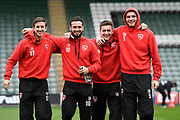 Andrew Fleming (17) Morecambe, Lee Molyneux (10) Morecambe, Peter Murphy (8) Morecambe and Ryan Edwards (5) Morecambe on the pitch at Home Park before the EFL Sky Bet League 2 match between Plymouth Argyle and Morecambe at Home Park, Plymouth, England on 18 March 2017. Photo by Graham Hunt.