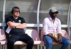 NEWPORT, WALES - Sunday, May 20, 2018: Welsh Football Trust's Technical Director Osian Roberts (left) and Sol Campbell (right) during day three of the Football Association of Wales' National Coaches Conference 2018 at Dragon Park. (Pic by David Rawcliffe/Propaganda)