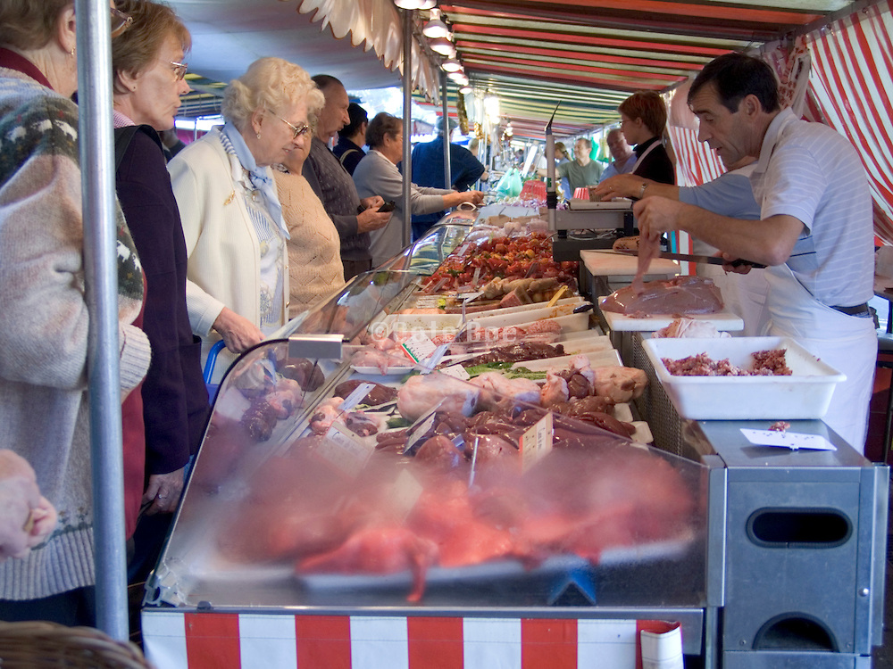a traditional country style outdoor meat market France