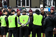 Somerset Director of Cricket Matthew Maynard with the players in the warm up before the Specsavers County Champ Div 1 match between Somerset County Cricket Club and Lancashire County Cricket Club at the Cooper Associates County Ground, Taunton, United Kingdom on 14 September 2017. Photo by Graham Hunt.