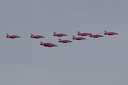 The Red Arrows Flypast over the new Queensferry Crossing, Rosyth, 04/09/2017<br />