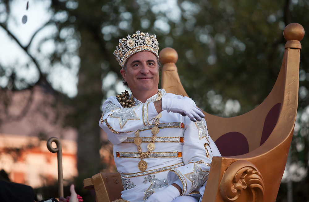 Andy Garcia, the king of the Krewe of Bacchus in 2011 Mardi Gras rides on a float on Napoleon street.   Mardi Gras 2011 in New Orleans is expected to be have the largest attendance of all time due to the dates overlapping with college spring break. Mardi Gras also known as Carnival begins on or after Epiphany and ending on the day before Ash Wednesday.
