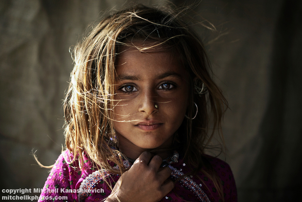 Portrait of a young Rabari tribal girl. Rural Kutch,