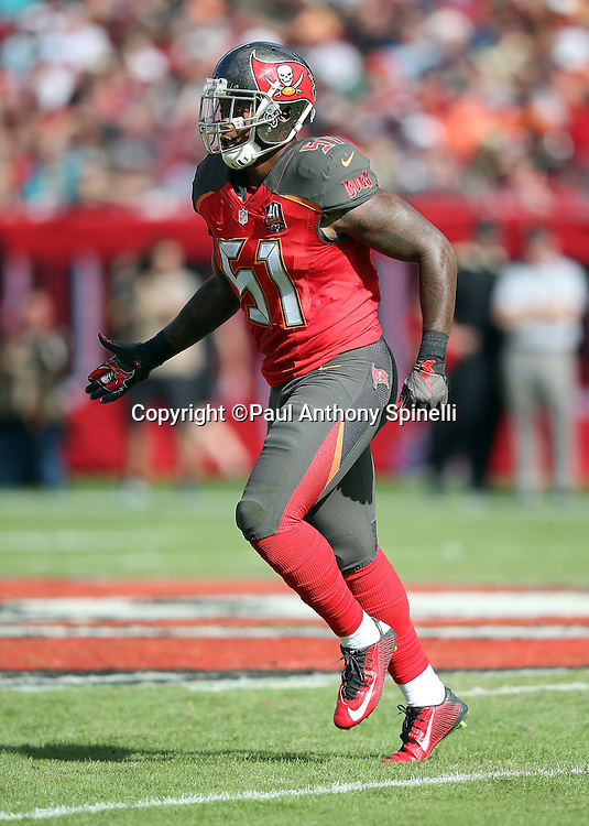 Tampa Bay Buccaneers outside linebacker Danny Lansanah (51) runs cross field during the 2015 week 14 regular season NFL football game against the New Orleans Saints on Sunday, Dec. 13, 2015 in Tampa, Fla. The Saints won the game 24-17. (©Paul Anthony Spinelli)