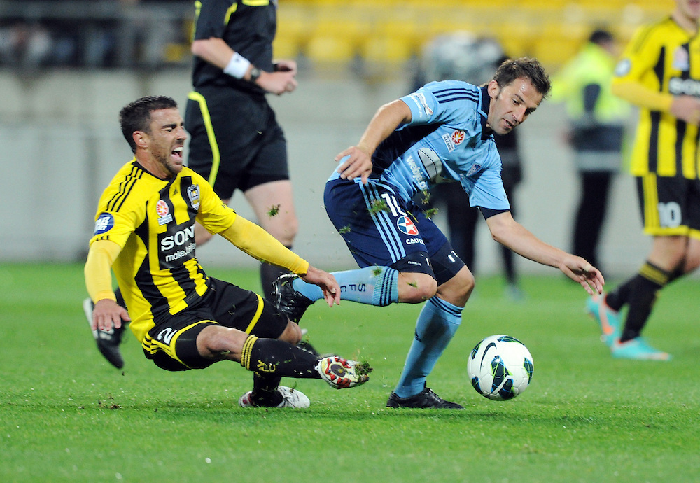 Sydney FC's Alessandro del Piero, right, runs around the Phoenix's Manny Muscat in the A-League foootball match at Westpac Stadium, Wellington, New Zealand, Saturday, October 06, 2012.  Credit:SNPA / Ross Setford