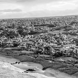 Maui Hawaii aerial drone black and white panorama photo of Mokapu Beach and Keawakapu Beach shoreline. Mokapu Beach and Keawakapu Beach are popular destinations in Wailea-Makena Kihei Hawaii. Panoramic photo ratio is 1:3. Copyright ⓒ 2019 Paul Velgos with All Rights Reserved.