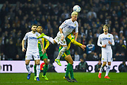 Ezgjan Alioski of Leeds United (10) heads the ball during the EFL Sky Bet Championship match between Leeds United and West Bromwich Albion at Elland Road, Leeds, England on 1 March 2019.