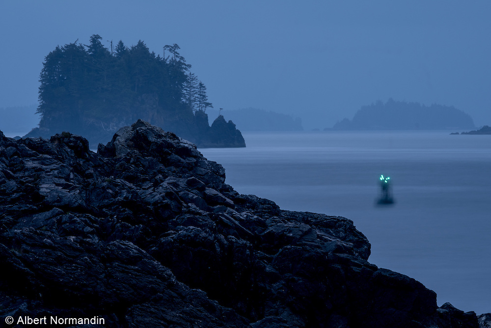 Whistle Buoy and rocky coastline of Ucluelet, BC