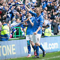 St Johnstone v Dundee United....17.05.14   William Hill Scottish Cup Final<br /> Steven Anderson and Steven MacLean celebrate at full time<br /> Picture by Graeme Hart.<br /> Copyright Perthshire Picture Agency<br /> Tel: 01738 623350  Mobile: 07990 594431