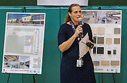 Gretchen Kasper-Hoffman comments during an update on construction by NATEX architects and Division One contractors at Grady Middle School, September 3, 2014.