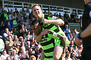 Forest Green Rovers Keanu Marsh-Brown(7) scores a goal 2-0 and celebrates with Forest Green Rovers Mark Ellis(5) during the Vanarama National League Play Off second leg match between Forest Green Rovers and Dagenham and Redbridge at the New Lawn, Forest Green, United Kingdom on 7 May 2017. Photo by Shane Healey.