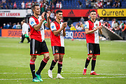 Feyenoord players Robin van Persie Mo El Hankouri and Steven Berghuis are happy with the victory after the Dutch football Eredivisie match between Feyenoord and Excelsior at De Kuip Stadium in Rotterdam, on August 19th, 2018 - Photo Dennis Wielders / Pro Shots / ProSportsImages / DPPI