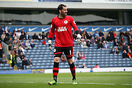 Wigan Athletic&rsquo;s Goalkeeper Scott Carson in action. Skybet football league championship match, Blackburn Rovers v Wigan Athletic at Ewood Park in Blackburn, England on Saturday 3rd May 2014.<br /> pic by Chris Stading, Andrew Orchard sports photography.