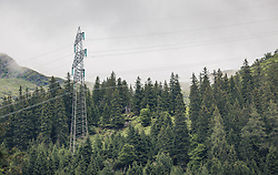 THEMENBILD - Strommasten auf bewaldeten Bergen, aufgenommen am 23. Juni 2019, am Hintersee in Mittersill, Österreich // Power pylons on the wooded mountains on 2019/06/23, Hintersee in Mittersill, Austria. EXPA Pictures © 2019, PhotoCredit: EXPA/ Stefanie Oberhauser