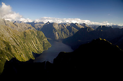Fiordland National Park, New Zealand:  Aerial view of one arm of Milford Sound.