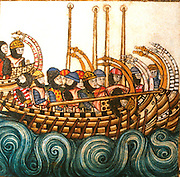 SPAIN, MIDDLE AGES, EL ESCORIAL 13thC Cantigas illuminated poems created for Alfonso X of Castile shows medieval warship w/knights