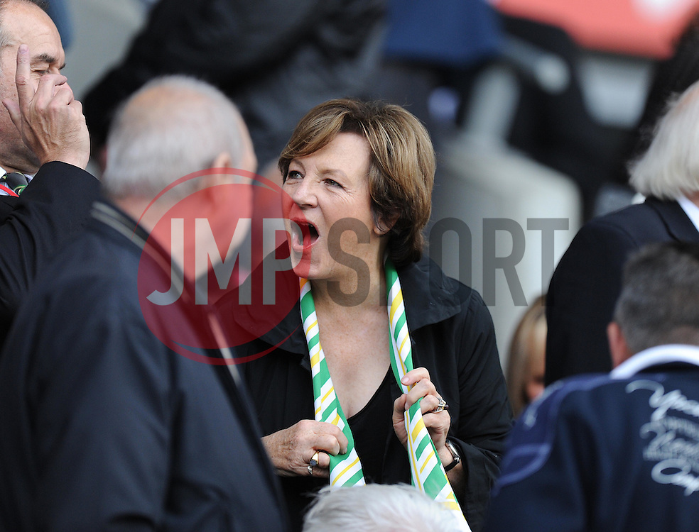 Shareholder Delia smith looks shocked. - Photo mandatory by-line: Alex James/JMP - Mobile: 07966 386802 30/08/2014 - SPORT - FOOTBALL - Cardiff - Cardiff City stadium - Cardiff City  v Norwich City - Barclays Premier League