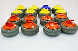 Curling stones of Team Slovenia Women Curling team for 2013 European Women's Curling Championships in Norway on November 18, 2013 in Arena Zalog, Ljubljana, Slovenia.  Photo by Vid Ponikvar / Sportida
