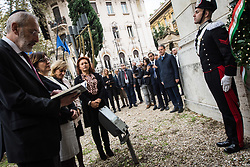 October 31, 2018 - Rome, Italy, Italy - Rabbi Capo di Roma Riccardo Di Segni, Minister of Defence Elisabetta Trenta , Ruth Dureghello, President of the Jewish Community of Rome, Noemi Di Segni, President of the Union of Italian Jewish Communities duringOn the occasion of the 100th anniversary of the end of the Great War, the Minister of Defence Elisabetta Trenta at the Tempo Maggiore in Rome to pay tribute to the Italian Jewish soldiers of the First World War, in a solemn moment in front of the memorial plaque that commemorates the sacrifice, placed in the Temple Gardens.on October 31, 2018 in Rome, Italy  (Credit Image: © Andrea Ronchini/NurPhoto via ZUMA Press)