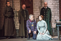 © Licensed to London News Pictures. 20/05/2013. Welsh National Opera present Wagner's Lohengrin, in a co-production with Theatr Wielki, Warsaw. Wales Millennium Centre, Cardiff. Featuring Matthew Best (Henirich der Vogler) & Emma Bell (Elsa von Brabant). Photo credit: Tony Nandi/LNP.