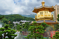 Golden pagoda, The Pavilion of Absolute Perfection, Nan Lian Garden, Kowloon (Diamond Hill), Hong Kong, August 2008. The Nan Lian garden is built on a classical design of the Tang Dynasty, with rocks, ponds, and plantings.   Photo: Peter Llewellyn