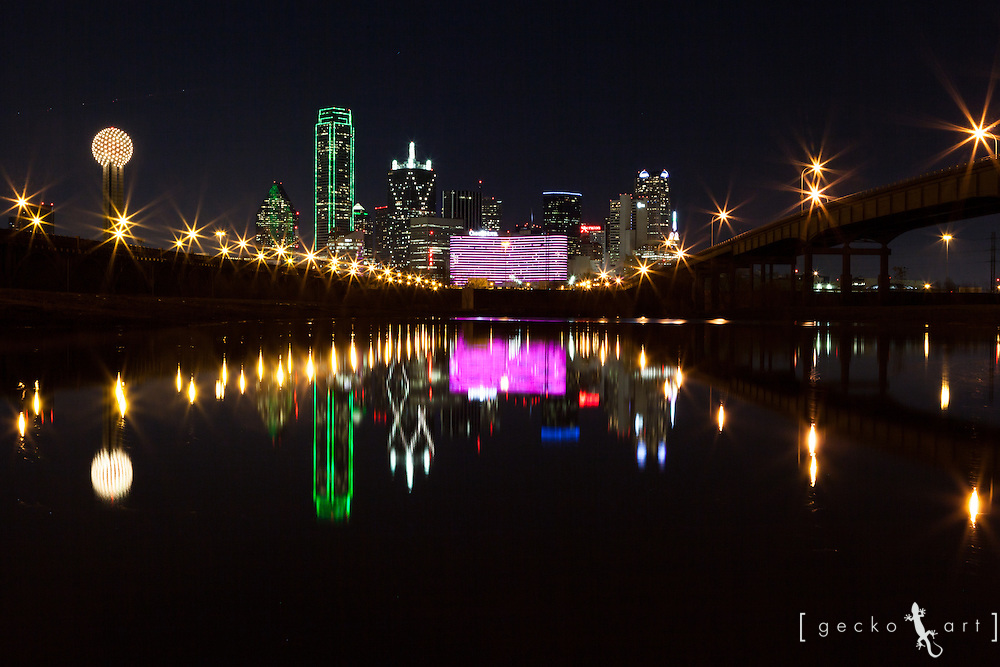 Dallas Skyline, including the Omni Hotel, reflecting on the Trinity River after recent rainfall       ** High Resolution Images Available By Request or on my website geckoart.net **