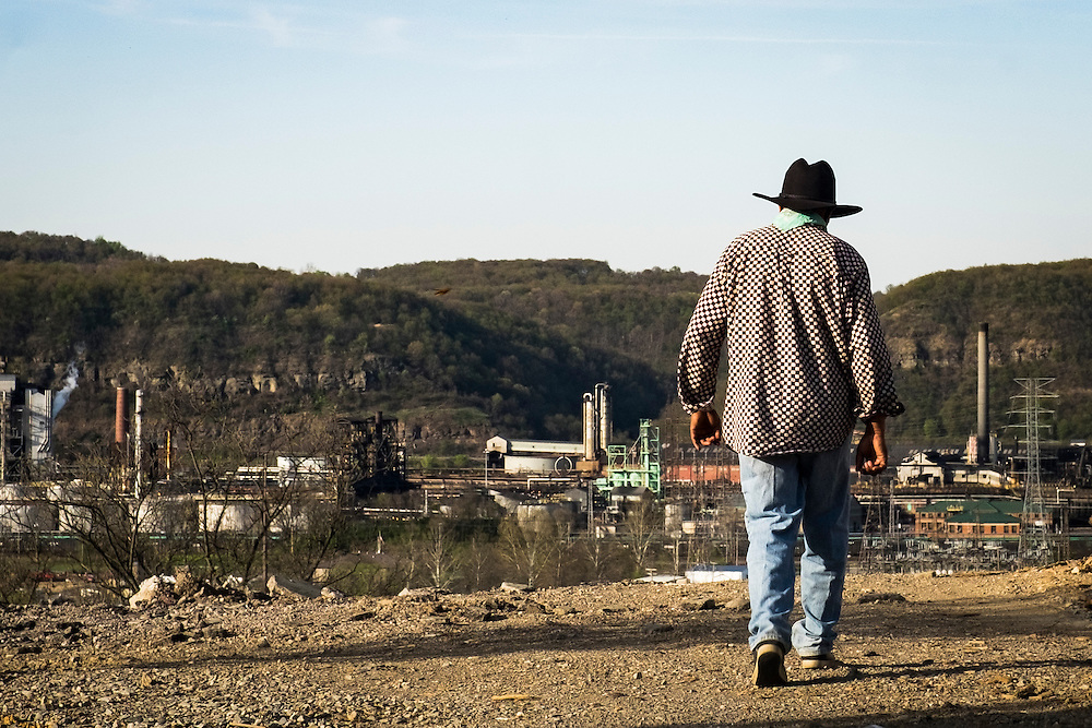 """Donald """"Amzi"""" Lightner, 63, on his property overlooking the Clairton Coke Works in Clairton, Pa."""