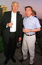 Left to right, SIR TIM RICE and LORD LOYDD-WEBBER at a party in London on 2nd September 1999.MUT 6