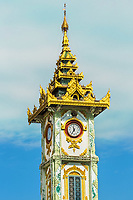 clock tower of the Maha Myat Muni Pagoda temple Mandalay city Myanmar (Burma)