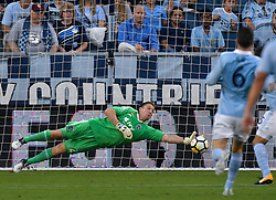 Sporting Kansas City goalkeeper Tim Melia couldn't stop a first-half goal by the San Jose Earthquakes' Danny Hoesen in the U.S. Open Cup semifinals at Children's Mercy Park in Kansas City, Kan., on Wednesday, Aug. 9, 2017. (Photo by John Sleezer/Kansas City Star/TNS/Sipa USA) *** Please Use Credit from Credit Field ***