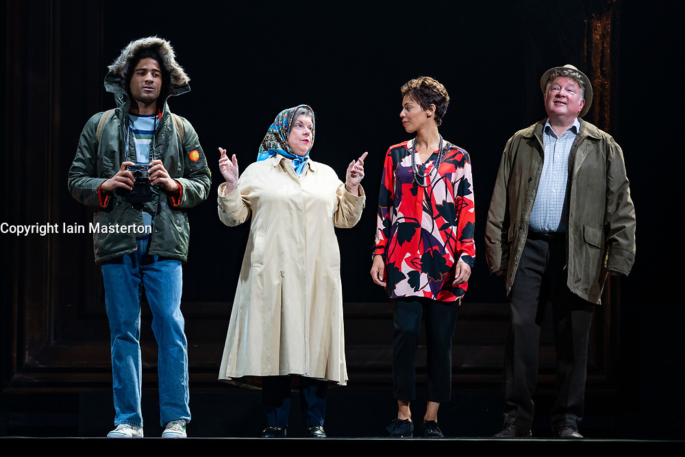 Edinburgh, Scotland, UK. 14 August 2019. Preview performance of the play Red Dust Road by the National Theatre of Scotland at the Lyceum Theatre during the Edinburgh International Festival 2019. <br /> Chronicling Jackie Kay's 20-year search for her biological mother and father and her quest for them to recognise her own existence. <br /> <br /> Red Dust Road is adapted from the memoir by Jackie Kay, poet, playwright, novelist and Scottish Makar. It's a journey full of heart, humour and profound emotion, exploring race, identity and family secrets, with a deeply human curiosity and compassion.<br /> Red Dust Road is adapted for the stage by Tanika Gupta, winner of last year's James Tait Black Prize for her drama Lions and Tigers. Iain Masterton/Alamy Live News ++ Editorial Use Only ++