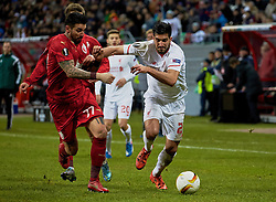 KAZAN, RUSSIA - Thursday, November 5, 2015: Liverpool's Emre Can in action against Rubin Kazan's Blagoy Georgiev during the UEFA Europa League Group Stage Group B match at the Kazan Arena. (Pic by Oleg Nikishin/Propaganda)