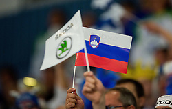 Slovenian flag during Ice Hockey match between Finland and Slovenia at Day 7 in Group B of 2015 IIHF World Championship, on May 7, 2015 in CEZ Arena, Ostrava, Czech Republic. Photo by Vid Ponikvar / Sportida