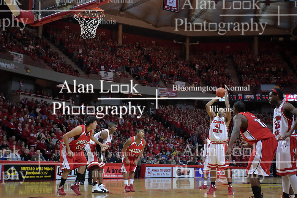 "31 January 2009: Brandon Sampay shoots a free throw. The Illinois State University Redbirds join the Bradley Braves in a tie for 2nd place in ""The Valley"" with a 69-65 win on Doug Collins Court inside Redbird Arena on the campus of Illinois State University in Normal Illinois"