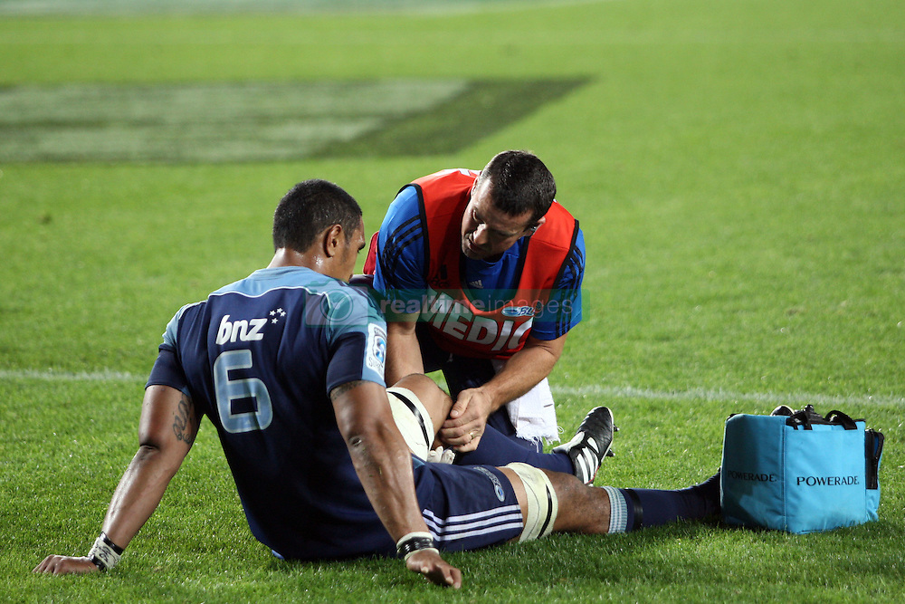 Jerome Kaino down injuried. Investec Super Rugby - Blues v Waratahs, Eden Park, Auckland, New Zealand. Saturday 16 April 2011. Photo: Clay Cross / photosport.co.nz