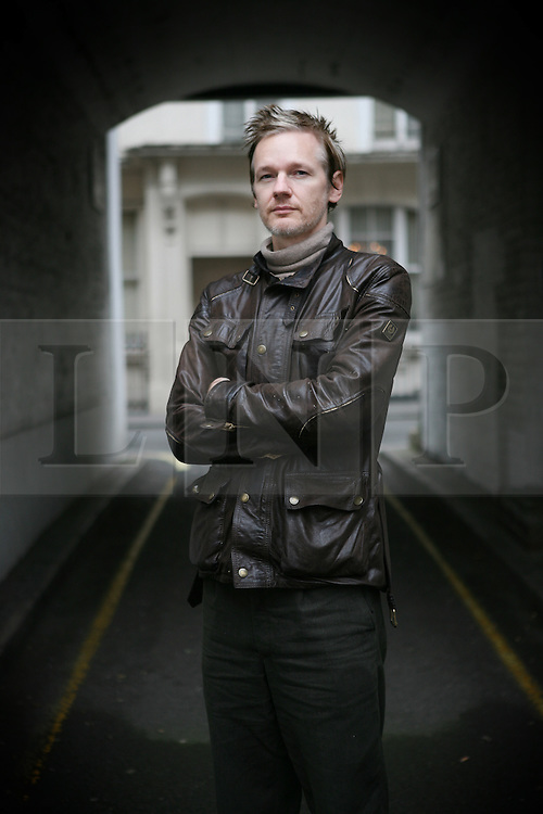 London News Pictures 29/11/10.Julian Assange, Australian computer programmer, hacker, and internet activist best know for his involment with Wikileaks as an editor in Chief, poses for photographs in Paddington, West London, UK on Monday the 4 of October  2010 Picture credit should read: Carmen Valino/London News Pictures
