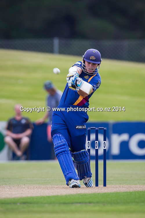 Michael Bracewell bats for the Otago Volts - Volts v Knights, 27 December 2014Saturday, 27 December 2014, Molyneux Park, Alexandra - List-A Match - Ford Trophy CREDIT: Libby Law / www.photosport.co.nz