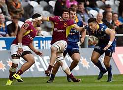 Otago's Patelesio Tomkinson, right, makes a run against Southland in the Mitre 10 Cup rugby match, Forsyth Barr Stadium, Dunedin, New Zealand, Sunday, October 14 2017.  Credit:SNPA / Adam Binns ** NO ARCHIVING**