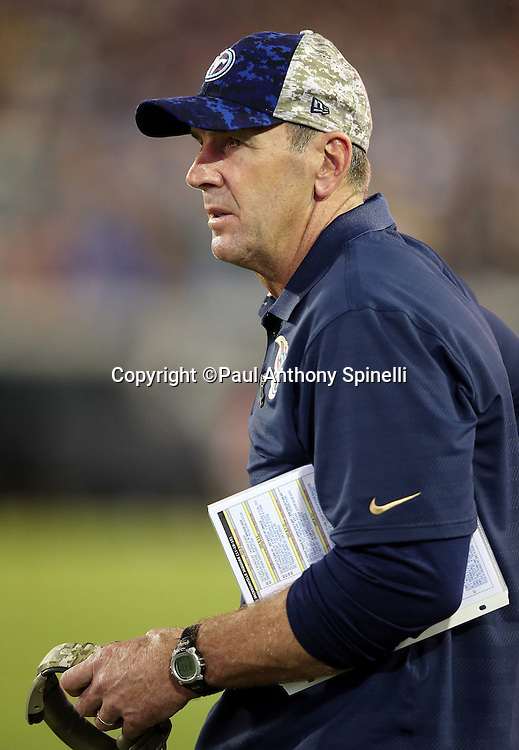 Tennessee Titans head coach Mike Mularkey looks on from the sideline during the 2015 week 11 regular season NFL football game against the Jacksonville Jaguars on Thursday, Nov. 19, 2015 in Jacksonville, Fla. The Jaguars won the game 19-13. (©Paul Anthony Spinelli)