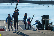 """Lucerne, SWITZERLAND, 12th July 2018, Friday  View,  Seeclub """"Luzern"""", """"Seeclub Luzern"""" and the """"Seeclub"""" """"Lake Lucerne',  Crew preparing to boat, carrying sculls, Photographer, Karon PHILLIPS,"""