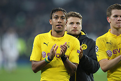 24.02.2015, Veltins Arena, Turin, ITA, UEFA CL, Juventus Turin vs Borussia Dortmund, Achtelfinale, Hinspiel, im Bild enttaeuschung bei Pierre-Emerick Aubameyang #17 (Borussia Dortmund) // during the UEFA Champions League Round of 16, 1st Leg match between between Juventus Turin and Borussia Dortmund at the Veltins Arena in Turin, Italy on 2015/02/24. EXPA Pictures © 2015, PhotoCredit: EXPA/ Eibner-Pressefoto/ Kolbert<br /> <br /> *****ATTENTION - OUT of GER*****