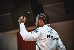 May 12, 2019 - Barcelona, Catalonia, Spain - LEWIS HAMILTON (GBR) from team Mercedes greets his teammates after his victory of the Spanish GP presenting his cup on the podium at the Circuit de Barcelona - Catalunya (Credit Image: © Matthias Oesterle/ZUMA Wire)
