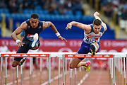 Andrew Pozzi of Great Britain (r) and Orlando Ortega of Spain during the Men's 110m Hurdles  at the Muller Grand Prix Birmingham 2017 at the Alexander Stadium, Birmingham, United Kingdom on 20 August 2017. Photo by Martin Cole.